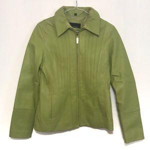 Jones New York Genuine Leather Jacket Lime Green S
